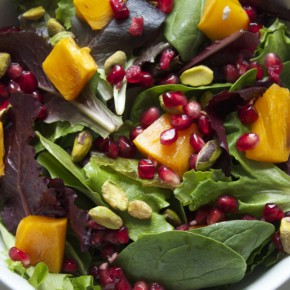 Pomegranate, Persimmon and Pistachio Salad