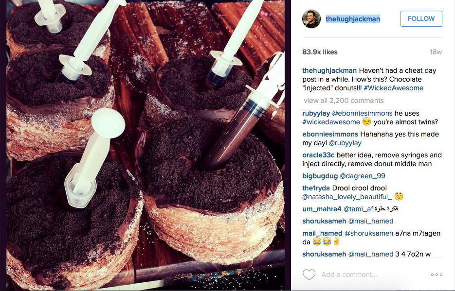 We love a good donut pic, but not as much as we love Hugh's workout selfies!